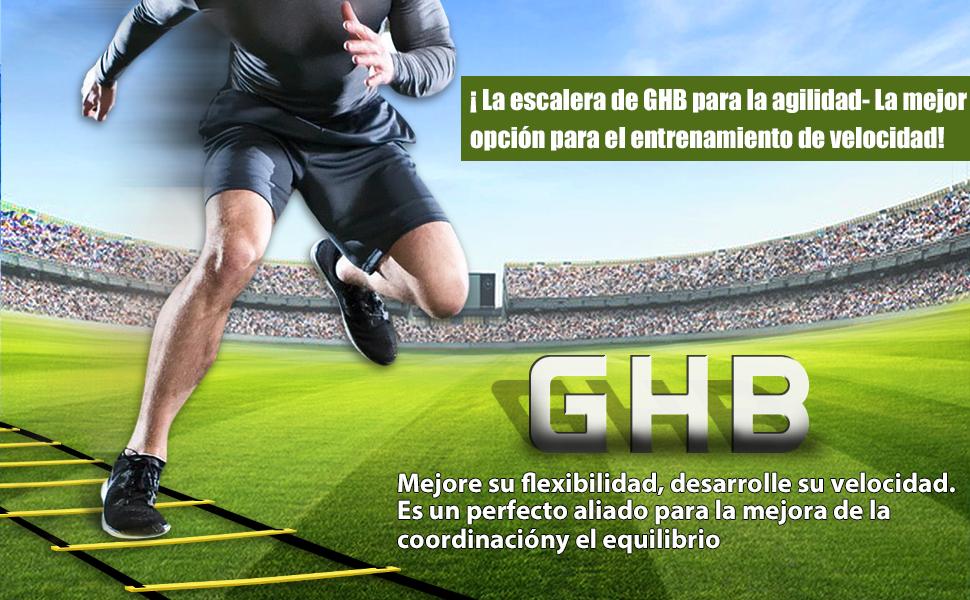 GHB Escalera de Entrenamiento Escalera Agilidad Fitness Velocidad Coordinación de Fútbol 6 Metros 12 Peldaño Amarillo …: Amazon.es: Deportes y aire libre