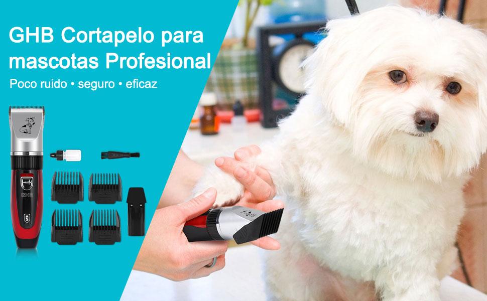GHB Cortapelo para Perro Esquiladora Eléctrica Dog Clipper Recargable Para Mascota Gato Rojo
