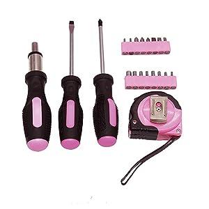 Rosa Se/ñoras Pink Tool Kit bolsa de herramientas DIY conjunto incluye Martillo Rosa Rosa alicates destornilladores en estuche rosa 25pcs