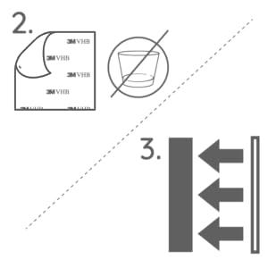 2. Quitar la película protectora & 3. Presionar el producto firmemente