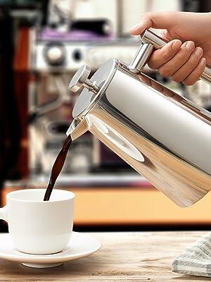 Cafetera de acero inoxidable francesa