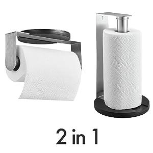 Soporte para rollos de papel de cocina de pared o mesa pie