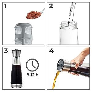 5 pasos para preparar café frío