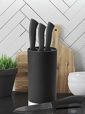 SILBERTHAL Tacoma sin Cuchillos | Soporte para Cuchillos de Cocina | Bloque Cuchillos Universal | Cuchillero de Cocina Negro