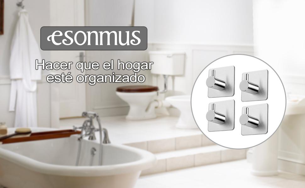 esonmus 4 Ganchos Autoadhesivas Juego de AceroInoxidable para Colgar en la Pared, para Baño, Dormitorio, Cocina