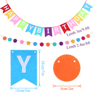 esonmus Globos de Cumpleaños Feliz Cumpleaños Decoración Kit de Decoración Feliz Cumpleaños Banners + Tissue Pom Poms + Garland Circle Dots + Globos ...