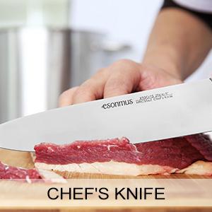 esonmus Cuchillos de Cocina Profesionales, 15 Piezas Juego de Cuchillos de Cocina, Hecho de Acero Alemán X50Cr15 Incluye Afilador de Cuchillos, ...