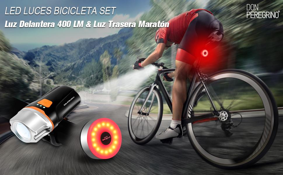 DONPEREGRINO S2 LED Luces Bicicleta Delantera y Trasera 6 Horas de ...