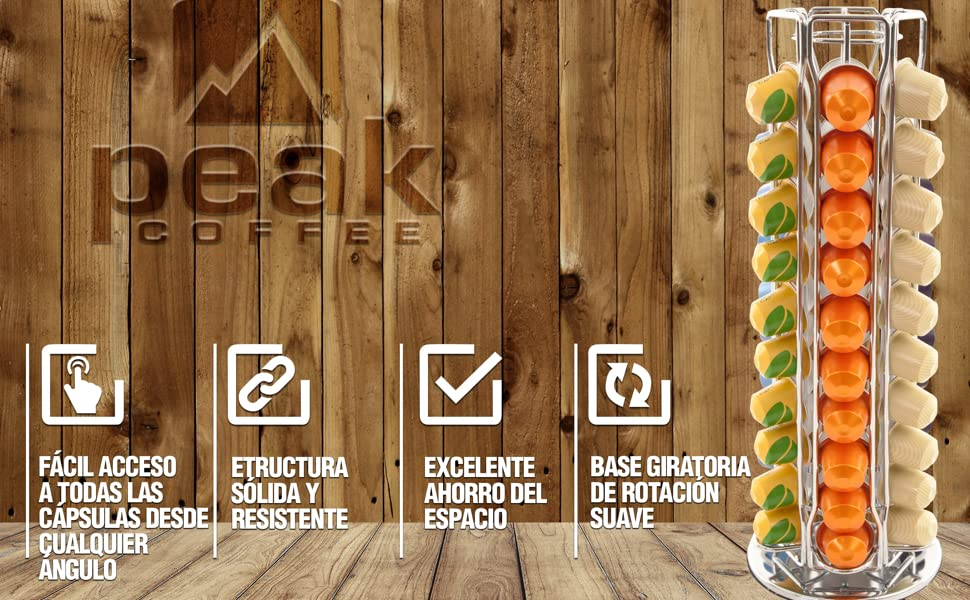 Peak Coffee N60G - Nespresso Gyro Soportes para 60 cápsulas de café