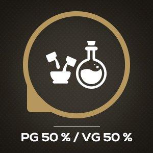 Después de años de pruebas, hemos descubierto que la mejor relación PG / VG para nuestros líquidos electrónicos es de 50/50.