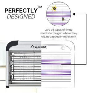 ASPECTEK Lámpara Matamoscas Electrico, Atrapa UV Lampara para Mata Mosquitos y Insectos, Control Multi-Insecto 20 W Efecto 60 m² Dispositivo de Suspensión Plateado: Amazon.es: Jardín