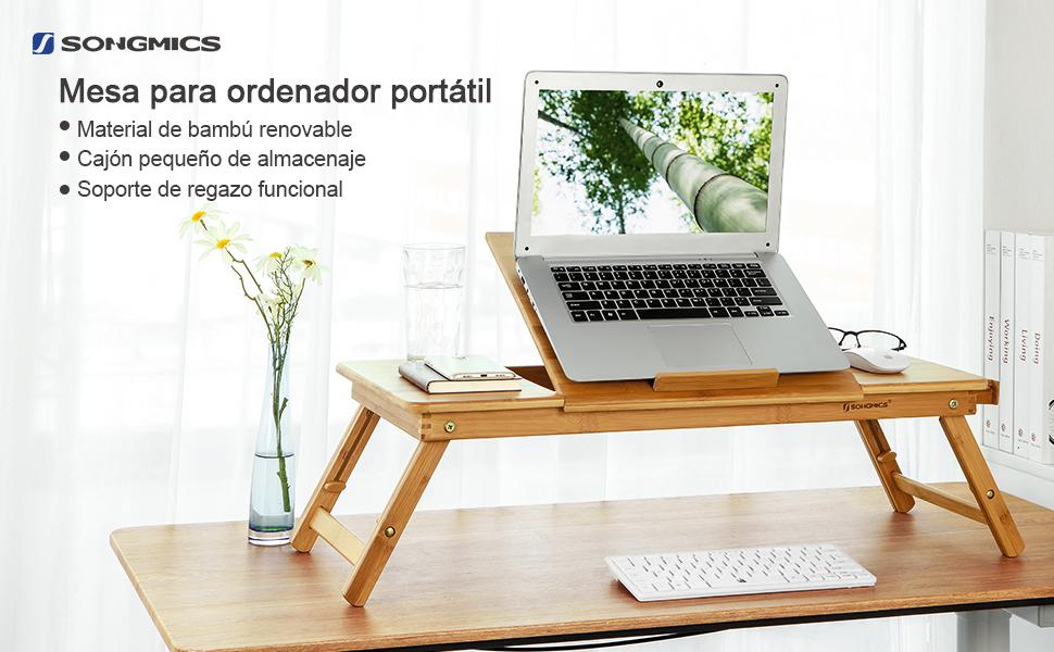 SONGMICS Mesa para Ordenador Portátil, para Uso con Mano Izquierda ...