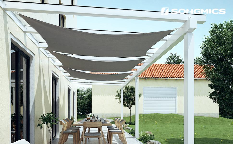 SONGMICS 4 x 6 m Vela de Sombra, para Jardín, Resistente a la Intemperie Protección Solar, PES Poliéster, 93% BloqueUV, Gris Antracita GSH46GYV1: Amazon.es: Jardín
