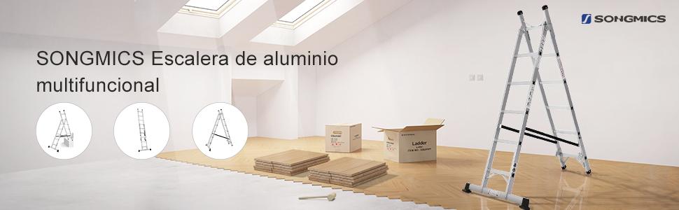 Songmics 2,57m Escalera de aluminio 3 Posiciones multifuncional 6 + 5 Peldaños GLT260: Amazon.es: Bricolaje y herramientas