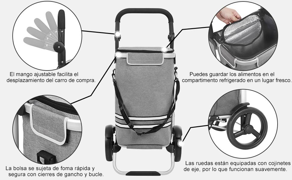 SONGMICS Carro de Compra Plegable con Compartimento de refrigeración Aislante Carrito de Compra con Bolsa Desmontable con 2 Ruedas Gran Capacidad ...
