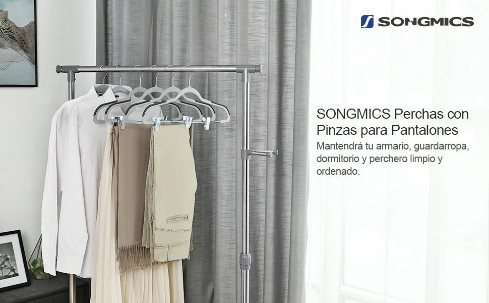 SONGMICS Set de 12 Perchas para Pantalones PlÁsticas, Gancho Giratorio de 360°, Antideslizante, Delgado, Ahorra Espacio, para Pantalones Faldas ...