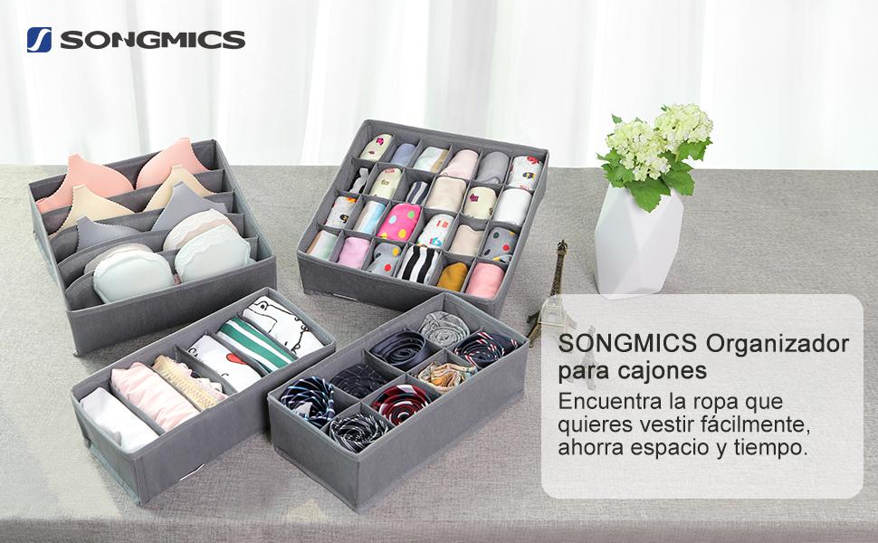 Corbatas Calcetines SONGMICS Organizador para Cajones con Compartimentos Bufandas Beige RUS04M Organizador de Armario para Ropa Interior Caja de Almacenaje Plegable Set de 4 Piezas