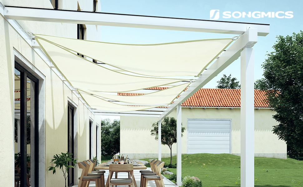SONGMICS 5 x 5 x 5 m HDPE Vela de Sombra Protección Solar ...