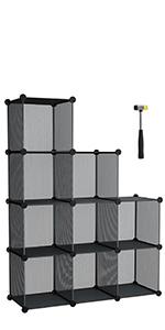 SONGMICS Armario Modular de Alambre metálico con 16 Cubos, Montaje en Bricolaje, Aramario de Almacenamiento, Estantería modulable, Estantería de Malla de ...