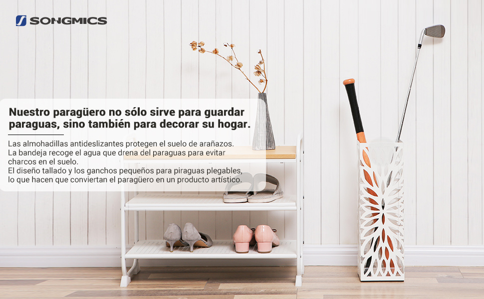 SONGMICS Paragüero Cuadrado, Soporte de Paragüas, con Gancho, Bandeja de Goteo, 49 x 15,5 x 15,5 cm, Blanco LUC48W