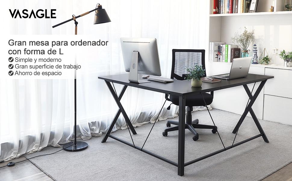 VASAGLE Mesa de Ordenador en Forma de L, Escritorio de Computadora ...