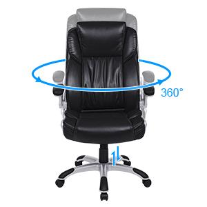 SONGMICS Silla giratoria ejecutiva de oficina Silla de ordenador Silla de escritorio Asiento blando de doble grosor Respaldo alto Función de ...
