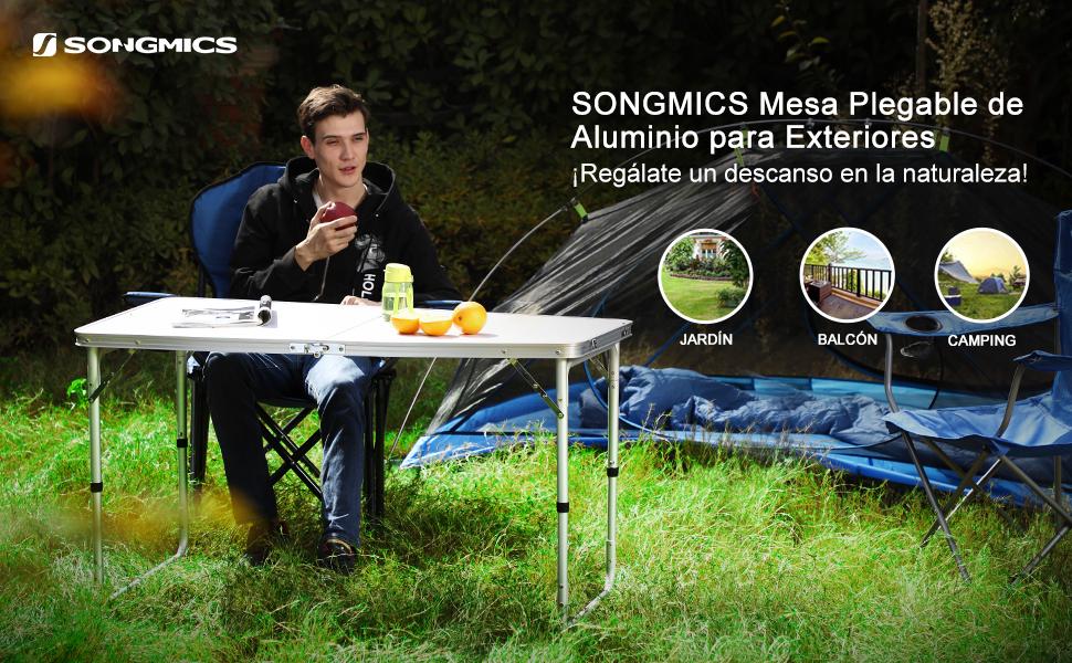 SONGMICS Mesa Plegable, Mesa de Jardín con Patas de Aluminio, Mesa ...