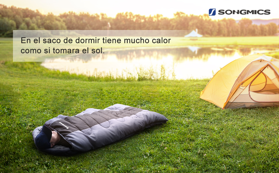 SONGMICS Saco de Dormir Momia para Adultos Relleno de Fibra sintética para Acampada Senderismo con Bolsa de compresión