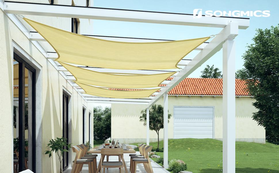 SONGMICS 3 x 4 m HDPE Vela de Sombra Protección Solar Resistente a los Rayos UV para Jardín, terraza y balcón Transpirable Permeable Beige Blanco y Amarillo Arena GSS34EYV1: Amazon.es: Jardín