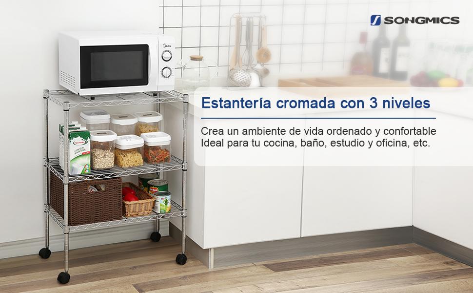 SONGMICS Estantería de Metal de Cocina Cromado 3 Niveles ...