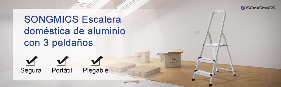 SONGMICS Escalerilla Doméstica con 3 Peldaños, Escalera de Aluminio Antideslizante, Escalera Plegable, con Pasamanos, Carga Máxima de 150 kg, Certificado por TÜV SÜD GS Según Norma EN131 GLT03SV: Amazon.es: Bricolaje y herramientas