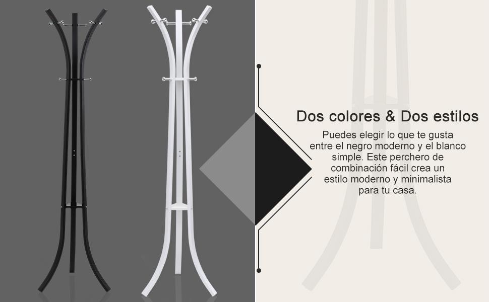 SONGMICS Perchero Percha de pie Colgar Ropa - Aprox. 176 cm Metal Hanger Blanco RCR01W