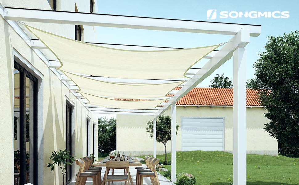 SONGMICS 5 x 5 m HDPE Vela de Sombra, Protección Solar, Resistente ...