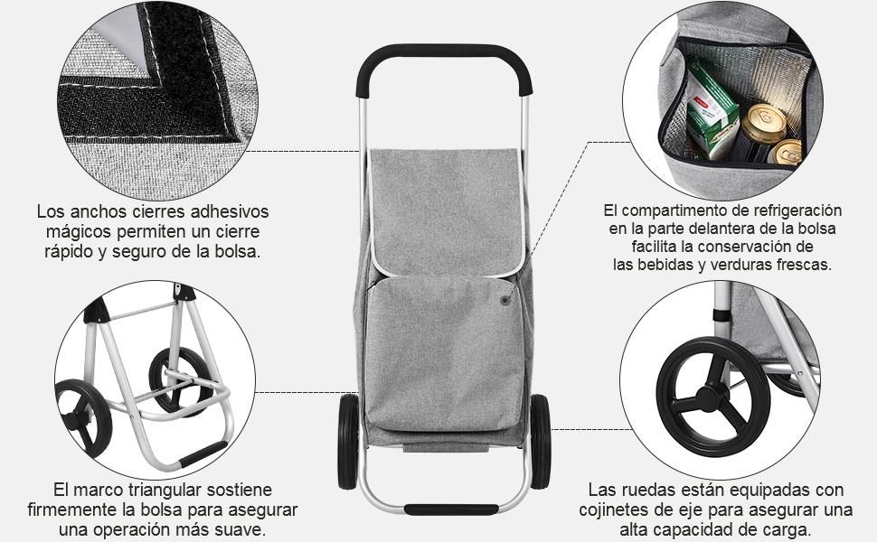 SONGMICS Carrito de Compra Plegable con Ruedas, Carro de la Compra Ligero con Compartimiento de Refrigeración, Gran Capacidad de 40 L, Gris KST04GY