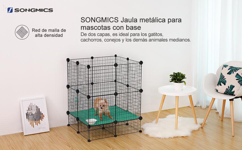 SONGMICS Jaula Metálica para Mascotas, Valla para Animales ...