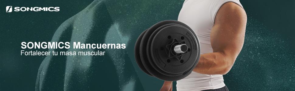 SONGMICS Mancuernas de Fitness, 20 kg, 30 kg, 40 kg, Pesas para Hombres, Cubierta de Plástico PE