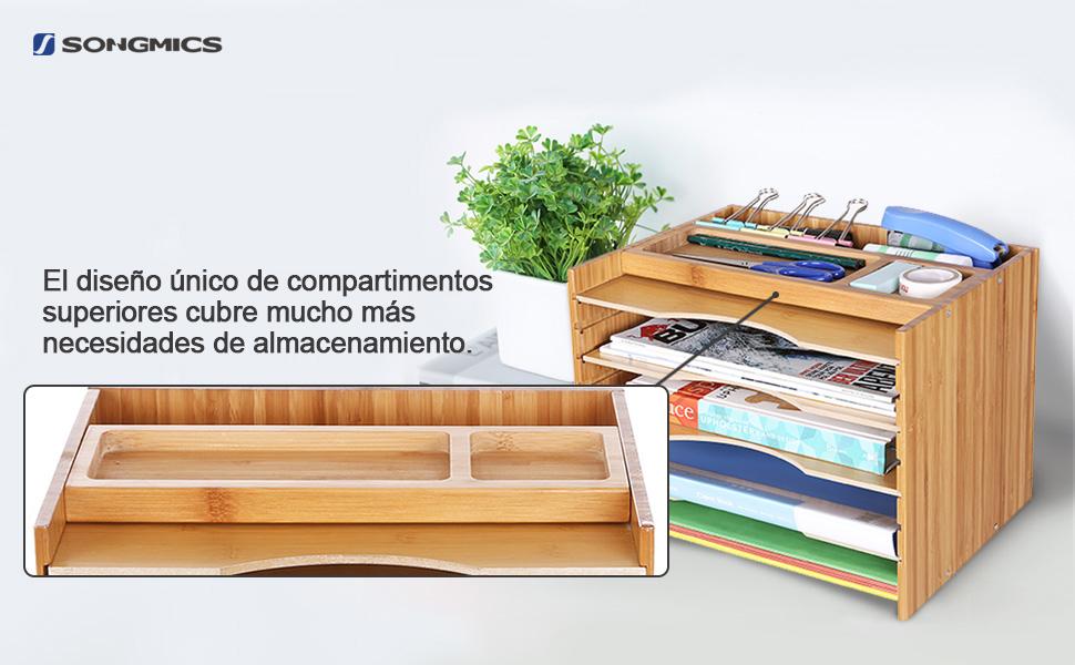 SONGMICS Archivador de Bambú, Clasificador de Papeles con 5 ...