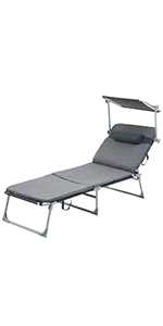 SONGMICS Tumbona Reclinable, Silla para Playa, Ajustable ...