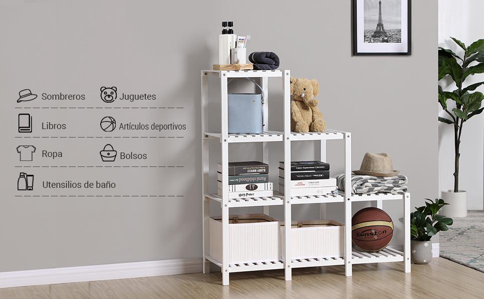 Usa esta estantería de almacenamiento en la sala de estar para libros y juegos, en el dormitorio para ropa, en el baño para toallas y botellas, ...