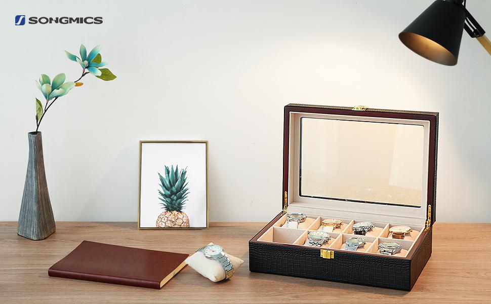 SONGMICS Caja joyero, Estuche para Relojes, Organizador para Joyas, con 8 Compartimientos, Negro JWB08B
