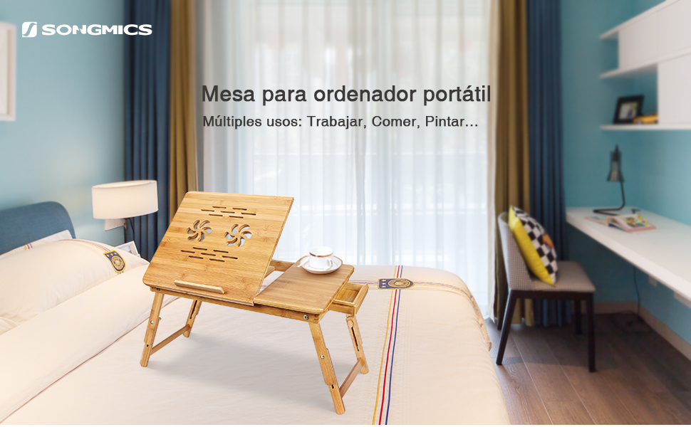 una mesa multiusos, ya que la puedes utilizar para: estar con el portátil, para leer, comer, estudiar, para coser (como hace mi madre), etc.