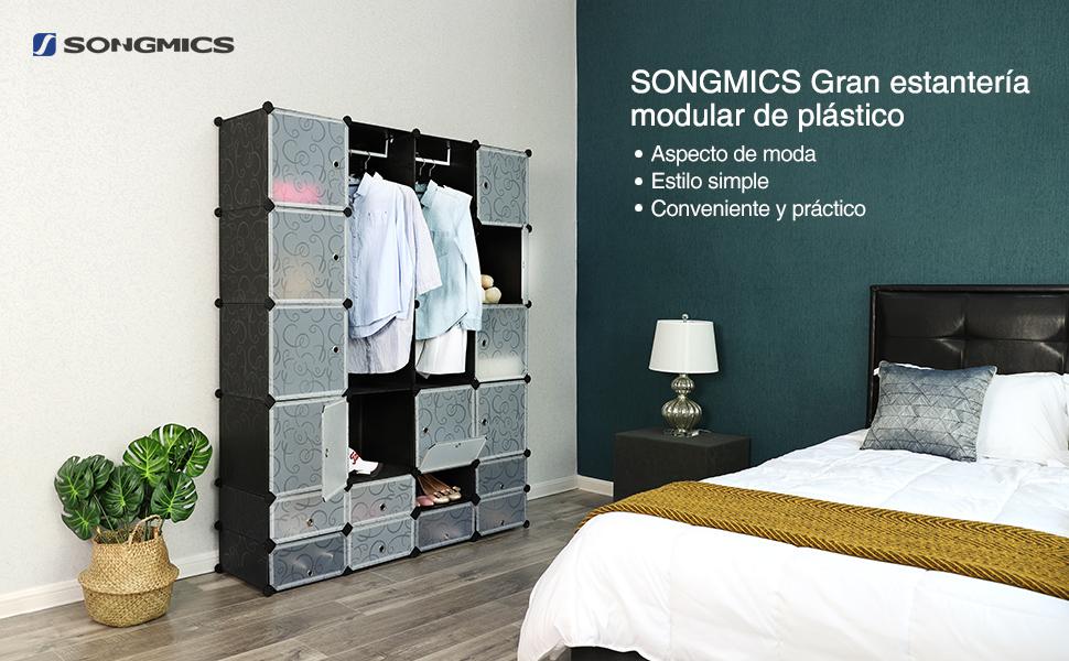 SONGMICS Armario Estantería para ropa Estructuras de cubo con puerta 2 Barras 143 x 36 x 177 cm Negro LPC42H