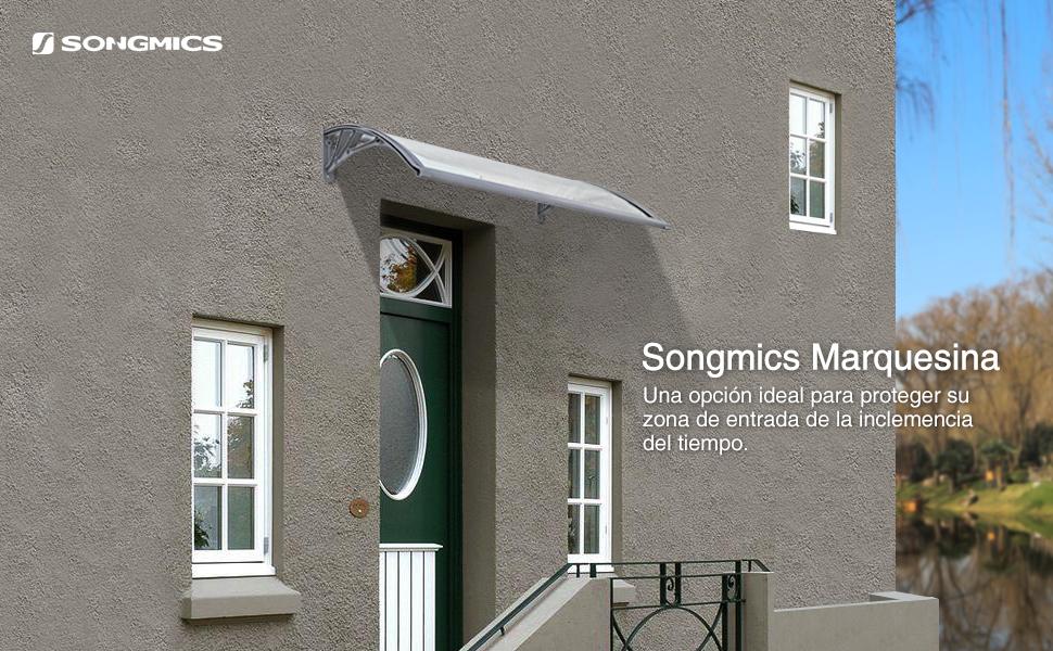 Songmics GVH017 - Toldo para puerta (125 x 75 cm), transparente ...