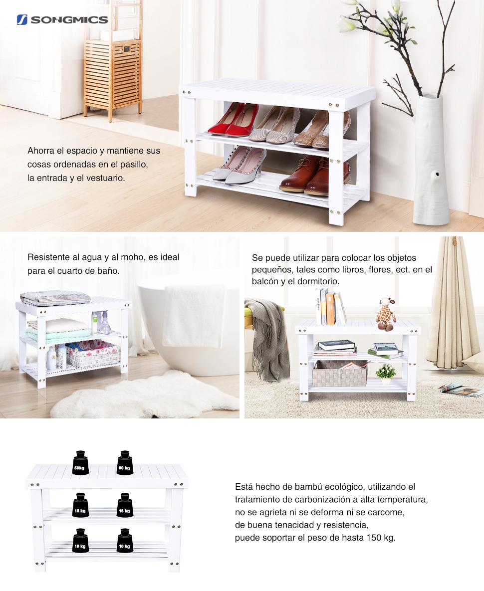 SONGMICS Banco Zapatero de bambú, Estantería para Zapatos con 3 estantes, 70 x 28 x 45 cm ideal para Entrada, Baño, Sala de Estar, Pasillo, Blanco ...