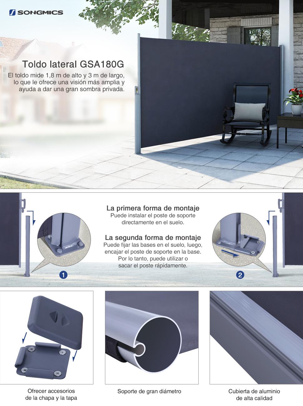 SongmicsToldo Lateral Solar retráctil con sombrilla Exterior 180 ...