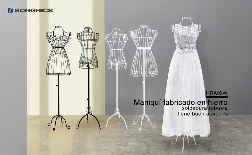 SONGMICS Busto de Señora para Costura, Maniquí de Exposición Metálico HRA09W