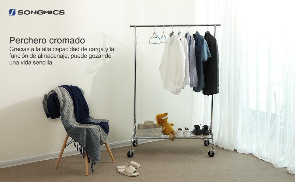 SONGMICS Perchero de Metal con Estante para Zapatos, con Ruedas, Cargas Pesadas, soporta hasta 50 kg, Longitud ajustable: 110,5 – 150,5 cm, Cromado ...