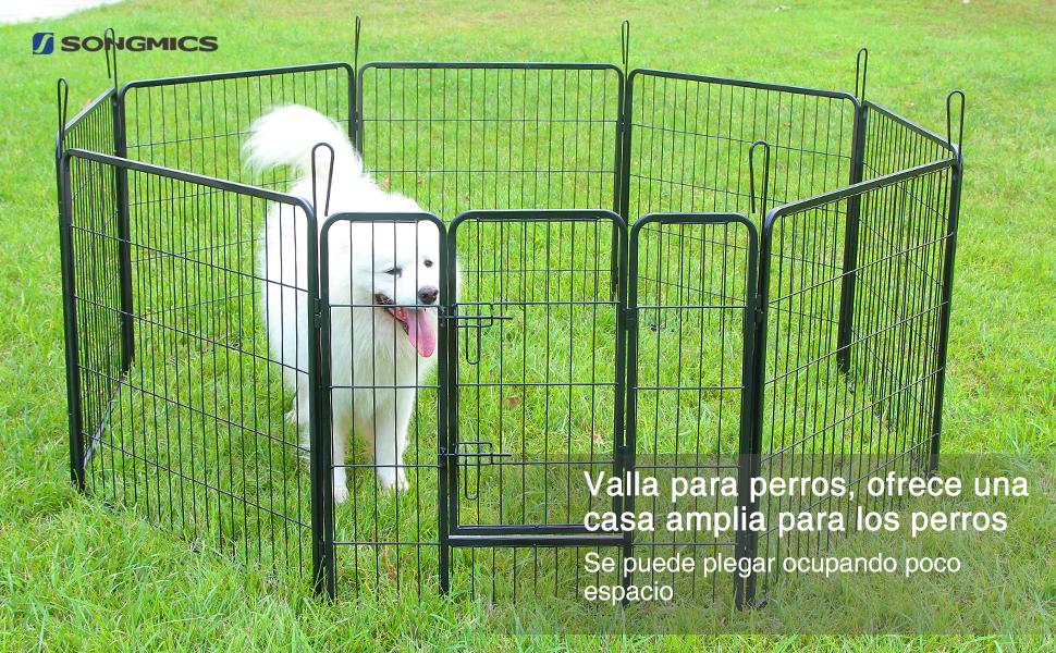 Songmics Valla para mascotas de alta calidad contiene 8 paneles que usted puede armarlos libremente en cualquier forma según sus necesidades.