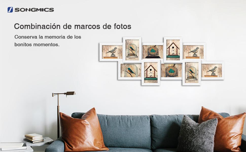 SONGMICS Marcos de fotos Capacidad de 10 fotos (10 x 15 cm) MDF ...
