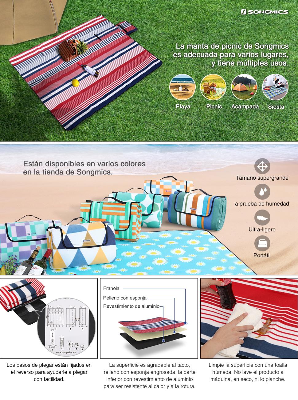 Esta manta para picnic es ligero y robusto, de colores decorativos. Tiene un gran tamaño extendido para ofrecer un espacio suficiente para varias personas.